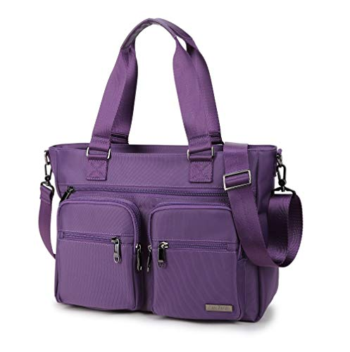 Crest Design Water Repellent Nylon Shoulder Bag Handbag Tablet Laptop Tote as Travel Work and School Bag. Functional Clinical Bag to Carry Medical, Nursing Supplies (Orchid)