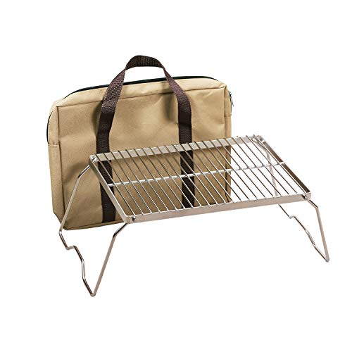 REDCAMP Folding Campfire Grill 304 Stainless Steel Grate, Heavy Duty Portable Camping Grill with Legs Carrying Bag, Medium