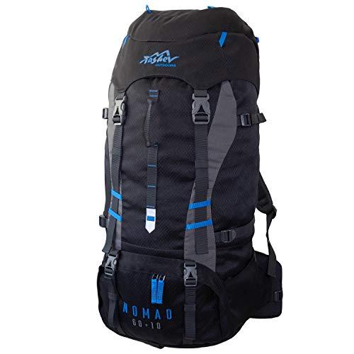 Tashev Outdoors Nomad Trekkingrucksack Wanderrucksack Damen Herren Backpacker Rucksack groß 60l Plus 10l (Hergestellt in EU) (Schwarz & Blau)