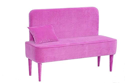 Happy Barok Bank Pastel mit Backrest, Velour 120 x 50 x 95 cm, Details zum Hauptmaterial: Polyurethan-Schaum & Polyester, Rosa, 85 cm H x 120 cm B x 50 cm T