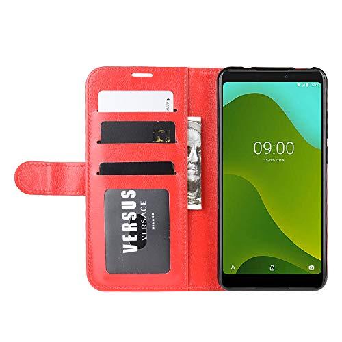 DAMAIJIA Funda Movil para Wiko Y70 Carcasa Cuero PU Silicona Magnetic Wallet Protector Teléfono Flip Back Cover For Y70 Wiko Y 70 WikoY70 Tapa con Soporte (Red)