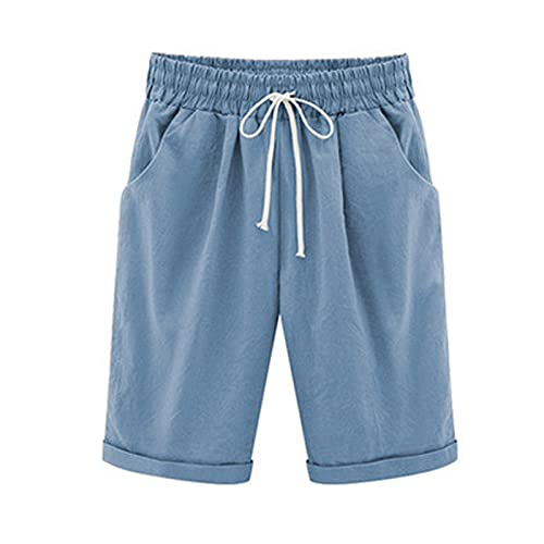 Bermuda Shorts Women Cotton Linen Elastic Waist Shorts Lounge Short Pants Plus Size Hot Pants with Pockets Light Blue