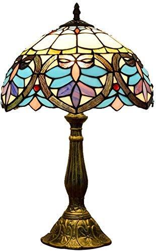 WTTWW Lámpara De Mesa Barroca Tiffany Francesa Tulip Flores Diseño De Escritorio Retro Vidrio De Vidrio Artesanía Art Deco Dormitorio Pantalla Aparador Estantería Luz De Noche
