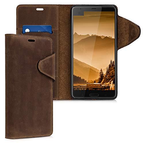 kalibri Hülle kompatibel mit HTC U Ultra - Leder Handyhülle - Handy Wallet Hülle Cover in Braun