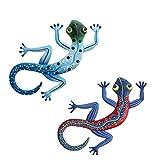 UPKOCH 2 Stück Gecko Wanddeko Metall 3D Skulpturen Wandkunst Eisen Reptilien Figuren Vintage Wanddeko Wohnzimmer Büro Hause Werkstatt Hinterhof Zaun Ornament Party Dekoration Zufällige Farbe
