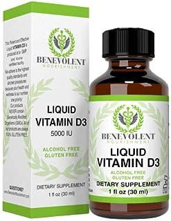 Vitamin D3 Drops 5000 IU - Potent & Effective 1000 IU per Drop - Fast Absorbing Liquid Dietary Supplement - 100% Alcohol &...