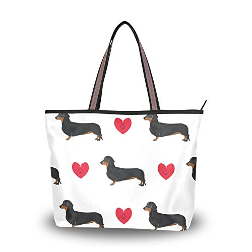 NaiiaN Bolso de mano, bolso ligero con correa, compras para mujeres, niñas, señoras, estudiantes, perro, corazón, huella, bolsos de hombro, bolsos de mano