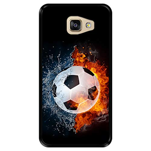 Hapdey Funda Negra para [ Samsung Galaxy A5 2016 ] diseño [ Fuego y Agua, balón de Futbol ] Carcasa Silicona Flexible TPU