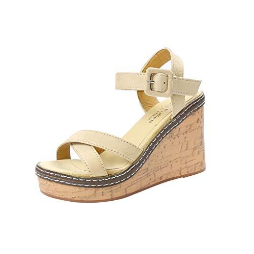 Schnallesandalen/Dorical Damen Klassische Sommerschuhe Peep Toe High Heels Sandalette 9.5cm Absatz Schuhe/Keilabsatz Pumps rutschfest Freizeitsandaletten für Mama(Weiß,36 EU)