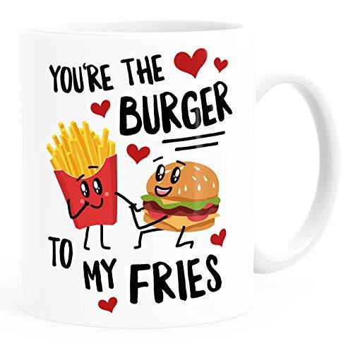 Moonworks® Kaffee-Tasse You're the burger to my fries Geschenk Liebe Valentinstag Jahrestag Geburtstag weiß Keramik-Tasse