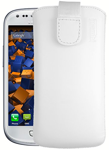 mumbi Echt Ledertasche kompatibel mit Samsung Galaxy S3 mini Hülle Leder Tasche Case Wallet, weiss