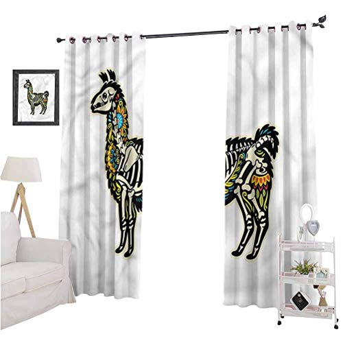 Aishare Store Blackout Window Curtain, Llama,Sugar Skull Style Alpaca, 96 Inches Long Blackout Curtains for Bedroom, Set of 2 Panels
