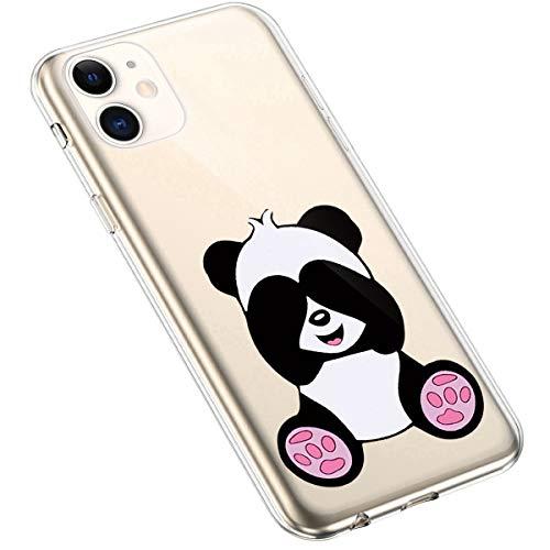Uposao Coque pour iPhone 11 Silicone Etui, iPhone 11 Coque Transparent avec Motif Fleur Crystal Clear Case Premium Semi Hybrid Ultra Mince Slim Soft TPU Antichoc Bumper,Panda Mignon