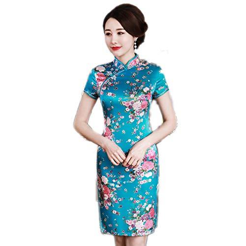 Skirts Plus Size 3XL 4XL 5XL 6XL Satin Mujer Vintage Chino Evening Dress Collar Classic Flower Cheongsam Estilo O. 3XL