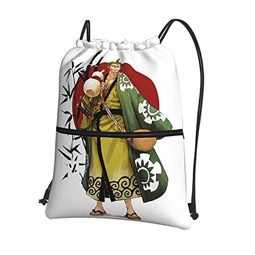 Anime ONE PIECE Roronoa Zoro Mochila con cordón con bolsillo con cremallera Bolsa de viaje deportiva repelente al agua mochila ligera bolsa de deporte unisex
