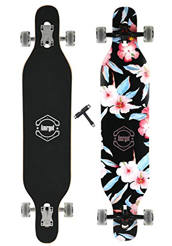 WiiSHAM 42 Inches Professional Speed Downhill Dancing Drop Through Complete Longboard Skateboard with Free T-Tools