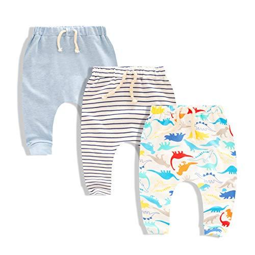 CuteOn 3 Paquete Unisexo Niños Niñito Harén Pantalones Algodón Elástico Pantalones