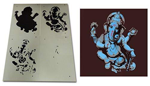 Ganesha Plantilla - Multicapas Elephant-Headed Dios en Hinduismo Plantilla Decoración Hogar Plantillas Pintura para Paredes, Telas y Muebles - SMALL - 17X22CM