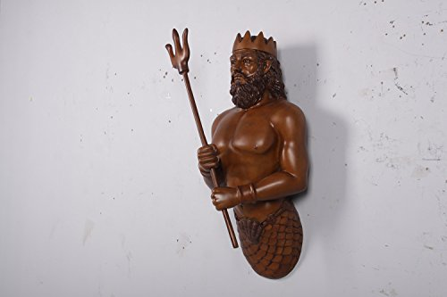 Neptune King of the Sea Large Wall Sculpture Poseidon with Trident Wood Finish