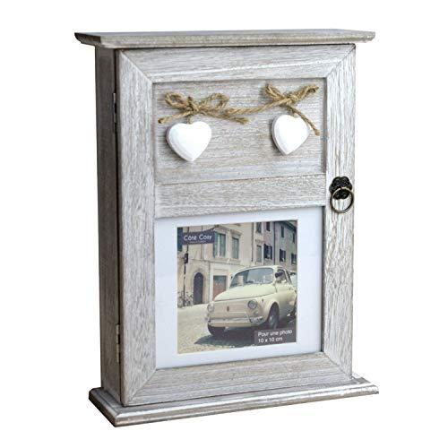 Caja de llaves, 6 ganchos, con marco, aspecto cutre, 29x22x8cm