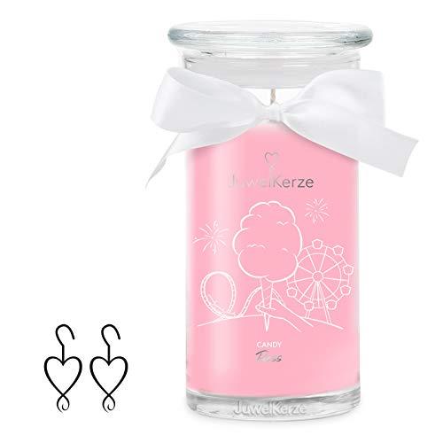 JuwelKerze 'Candy Floss' (Ohrringe) Schmuckkerze große Rosa Duftkerze 925 Sterling Silber - Kerze mit Schmucküberraschung als Geschenk für sie