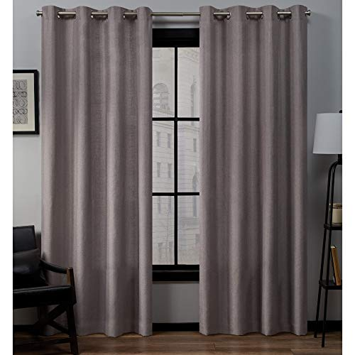 Exclusive Home Curtains EH8092-10 2-108G Loha Linen Grommet Top Curtain Panel Pair, 54x108, Dusty Lavender