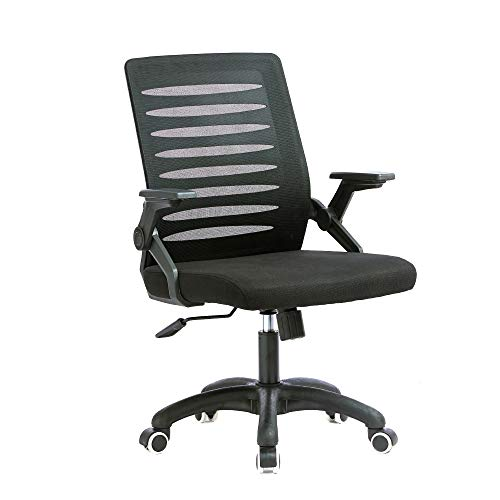 Office Masters Office Chair - Ergonomic Swivel, Folding Arm Rests - Adjustable Height & Mesh Back for Posture & Lumbar Support - Heavy-Duty Computer Desk Seat for Home, Work & Gaming, 4GB Flash Memory