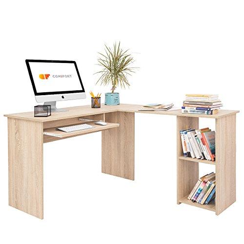 COMIFORT Escritorio Forma L - Mesa de Estudio con Estantería de Estructura Firme, Moderna y Minimalista con 2 Baldas Espaciosas y de Gran Capacidad, Color Roble Sonoma
