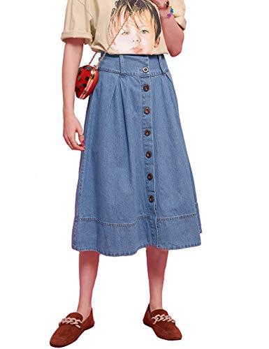 ELFSACK dames A-lijn rok jeansrok met knopen Midi oversized vrije tijd lange rok