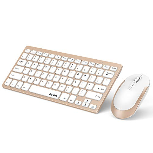 Wireless Keyboard and Mouse, Jelly Comb 2.4G Slim Compact Quiet Small Keyboard and Mouse Combo for Windows, Laptop, PC, Notebook-White and Gold