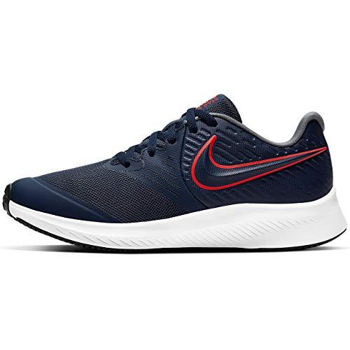 Nike Star Runner 2 (GS), Scarpe da Corsa Unisex-Bambini, Midnight Navy/Bright Crimson-Smoke Grey-Black, 39 EU