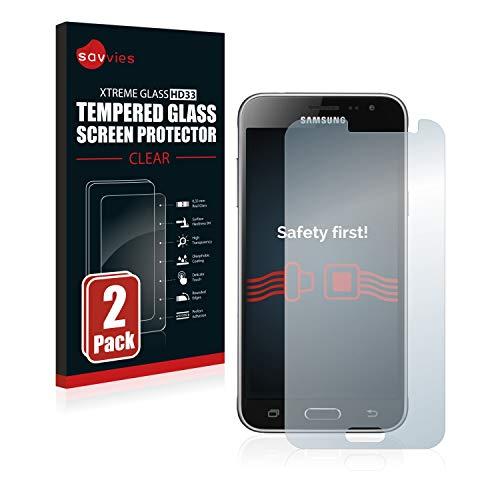 Savvies Panzerglas kompatibel mit Samsung Galaxy J3 / J3 Duos (2016) (2 Stück) - Echt-Glas, 9H Festigkeit, Anti-Fingerprint