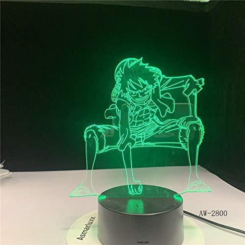 Luce notturna a LED 3D Anime One Piece Luffy Lampada da tavolo USB Atmosfere di colore n Illuminazione notturna per regali di compleanno per ragazzi