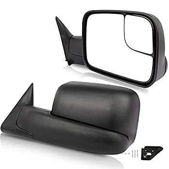 ECCPP Black Manual Adjusted Side View Mirror Tow Towing Mirrors Left & Right Pair Set Replacement fit for 94-01 Dodge Ram 1500 94-02 Ram 2500 3500 Truck