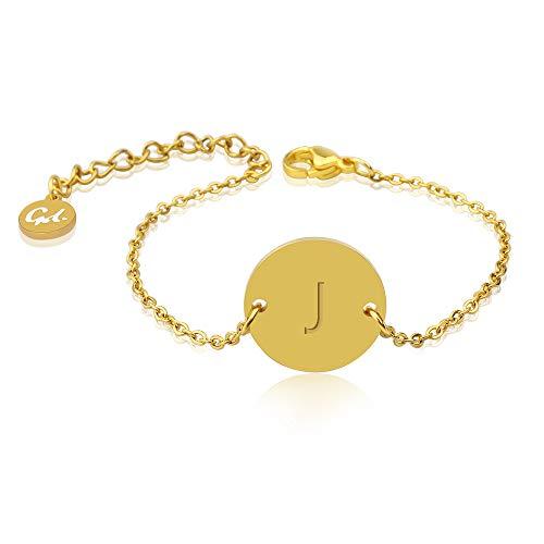 GD GOOD.designs EST. 2015 ® Damen Goldarmkette mit rundem Buchstaben Anhänger (18K Vergoldung) Personalisiertes Armkettchen mit Initialen (J)