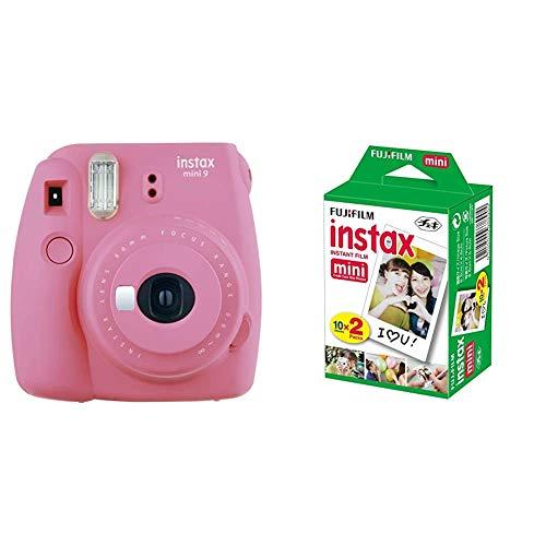 Fujifilm Instax Mini 9 - Cámara instantánea, color rosa + Fujifilm Película fotográfica instantánea, 4 x 10 hojas, color blanco