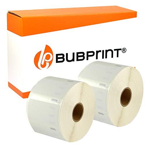 Bubprint 2 Etiketten kompatibel für Dymo 11354 S0722540 für Labelwriter 310 320 330 400 450 Duo Twin Turbo 57 x 32 mm weiß white