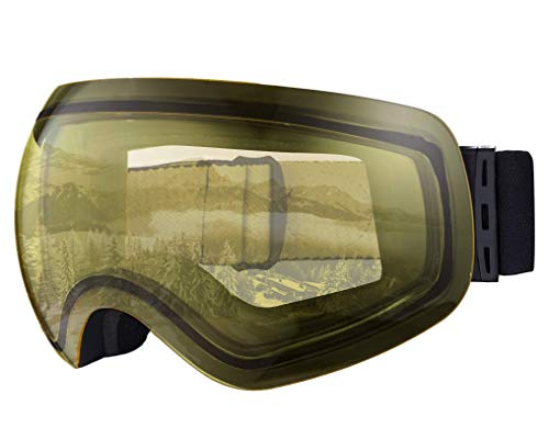 Ski & Snowboard Goggles - OTG Snow Glasses for Skiing, Snowboarding & Outdoor Winter Sports - Snowmobile Gear with Anti-Fog Frameless Dual-Layer Lens & UV400 Protection - Fits Men, Women & Youth