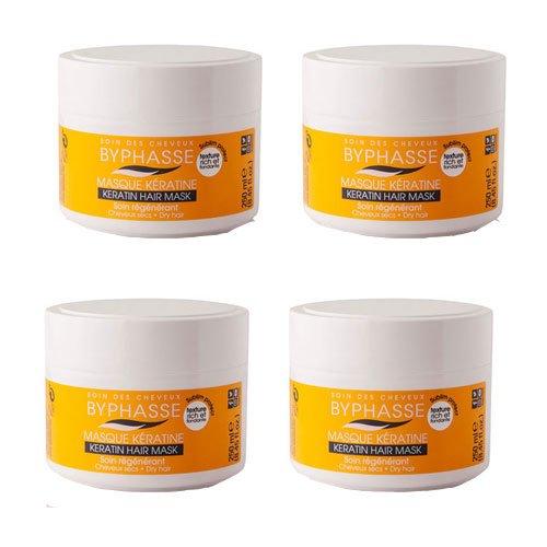 Byphasse LOT DE 4 - Masque capillaire à la kératine liquide pour cheveux secs et ternes - 250 ml