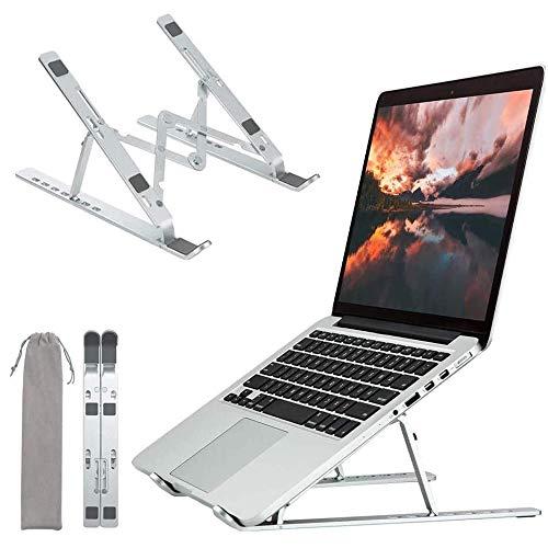 Supporto per Laptop, Supporto per Laptop Portatile, Alluminio 7 Angoli Regolabili Leggero Portatile Supporto Laptop per PC, Tablet, Notebook da 11-17 Pollici (Argento)