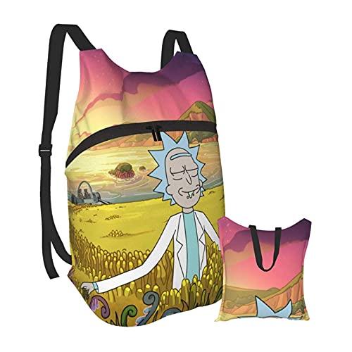 Yuanmeiju Programa de televisión Ri- Mor-ty divertida mochila portátil plegable, ultraligera, portátil, resistente al agua, para viajes, senderismo, mochila, mochila