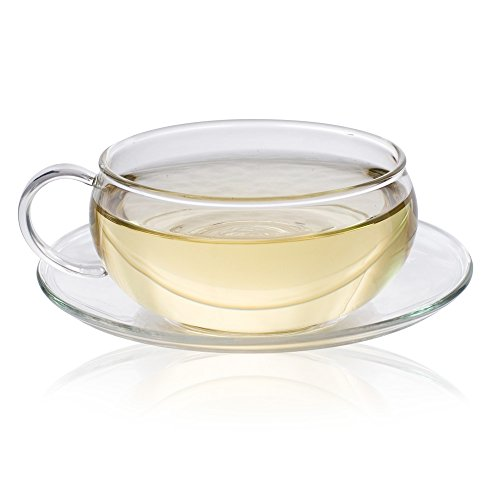 The Exotic Teapot - Small Glass Cup and Saucer 200ml, for Tea or Cappuccino Coffee, Ultra Clear Glass, Dishwasher Safe