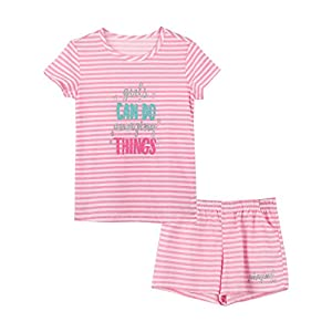 Summer Pajamas for Girls – Stripe & Glittering Heart PJS Pal Cute Jammies Set Big KidsSize 6-16