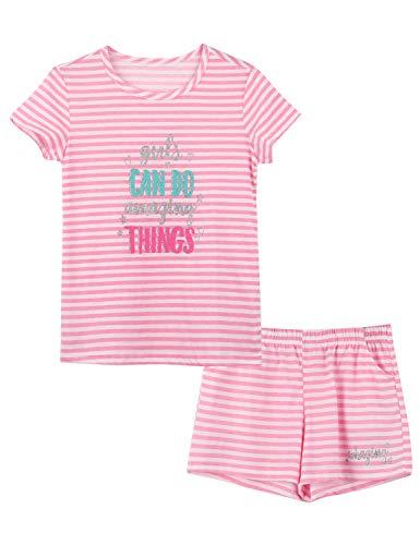 Summer Pajamas for Girls – Pink Stripe & Glittering Heart PJS Pal Cute Jammies Set Big KidsSize 8