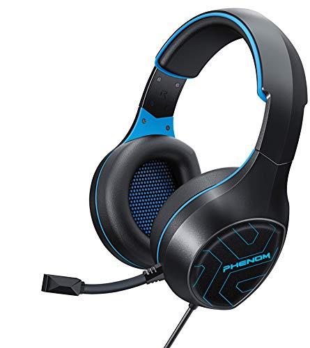 Phenom EXP04 Stereo-Gaming-Headset für PS4, Xbox One, Tablet oder Smartphone, Rauschunterdrückung, Kopfhörer mit Mikrofon und LED-Leuchten, Blau