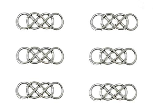 30pcs Double Infinity Symbol Charm Connector Linker Pendant for DIY Bracelet Necklace Jewelry Making(Antique Silver)