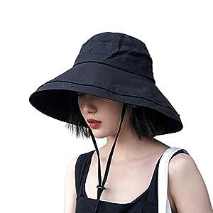 UVカット帽子 つば広 小顔効果 マジックテープ調節 あご紐 風で飛ばない 紫外線カット レディースハット 折りたたみ 携帯便利 アウトドア 自転車 春夏 日焼け防止 スカラハット 黒