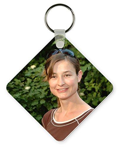 Shirtstown Porte-clés carré Couleur Blanc Brillant Imprimé avec votre propre photo weiss