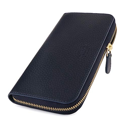 Otto Angelino Zippered Clutch with Phone Compatible Slots (Navy blau)