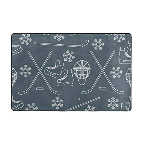 Wdoci Badematte Teppich,Nahtloses Muster Mit Schlittschuhen,Torwart,Hockeyschläger,Eishockey Badezimmerteppich 75cm x 45cm